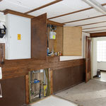 Die alte Garage mit den Hausanschlüssen, jetzt Wohnzimmer