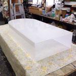 新規で作り直した看板のアクリルBOX(電飾用フィルムを貼る前)