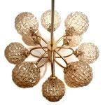 Kaiser Leuchten, Amber Textured Glass and Brass, Chadelier, 1950s