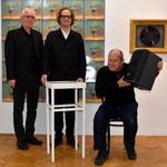 Wolfgang Reiter (v. li.), Norbert Trawöger und Fadi Dorninger, Galerie Forum Wels