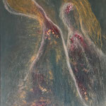 Transformation, 60x80 cm, oil, gold leaves, 3D paint on canvas