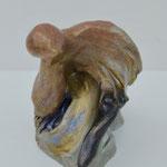 Waiting bird, 20x15x15cm, painted ceramic