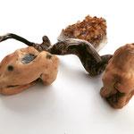 Woody stones, 10x10x10cm, painted ceramic