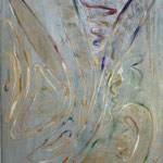 Flying fairy, 60x80cm, oil, gold leaves, structure, mixed media on canvas