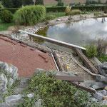 Naturteich Steg Lärchen-Balken freigelegt