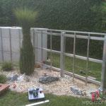 WPC Sichtschutz Aluminium Unterkonstruktion Zaunsteher