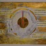 Scenario; Blattgold, Tusche und Pastell auf Papier, 48x38cm inkl. Rahmen. Gold leaf, ink and pastel on paper incl. frame. 2018e