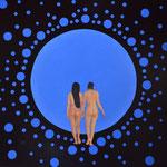 Der blaue Planet, Öl auf Leinwand 110 x 90 cm, 2017. The blue planet. Im Provenienz Verzeichnis gelistet und in der Datenbank Alphanis registriert