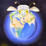 Die Globalisierung frisst alle Ressourcen der Welt so wie die Heuschrecke alles Grün. Globalization eats all the resources of the world just as the grasshopper eats all green.
