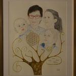 Glaube, Hoffnung, Liebe; Blattgold, Tusche und Pastell auf Papier, 50x40cm. Faith,hope, love; gold leaf, ink and pastel on paper.