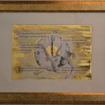 Szenario; Blattgold, Tusche und Pastell auf Papier, 48x38cm inkl. Rahmen. Gold leaf, ink and pastel on paper incl. frame. 2017