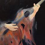 Gitarrist; Öl auf Leinwand 50 x 70cm, 2019. Oil on canvas.