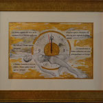 Scénario; Blattgold, Tusche und Pastell auf Papier, 48x38cm inkl. Rahmen. Feuille d'or, encre et pastel sur papier, 48x38cm inclus  cadre, 2018