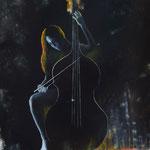 """Das Gemälde """"Bassinstrument"""" zeigt das Zusammenspiel des Künstlers mit einem Musikinstrument. The painting """"Bassinstrument"""" shows the interaction of the artist with a musical instrument."""