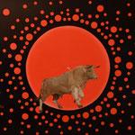 Der rote Planet (óle),  Öl auf Leinwand 110 x 90 cm. The red planet (óle). 2017.  Im Provenienz Verzeichnis gelistet und in der Datenbank Alphanis registriert