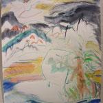 「温泉」 2017年 97x67cm 水彩 紙