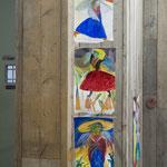 「鳥たち」(各裏側にケルトの書からのスケッチのある) 上 34x20cm 中 34x20cm 下 33.5x20cm 3 枚で一作品 表 oil on canvas 裏 ペン