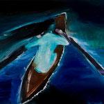 ボートに乗った女の子(明るい日)_2011_91x117cm 油彩 綿キャンバス 個人蔵