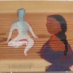 「知恵比べ」2011年 油彩 板 40.5x46cm