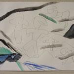 「山の騒動」 2017年  32x41cm  鉛筆 水溶性油絵の具 紙