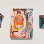 「無題」2012年 油彩 パジャマの襟 19.5×30㎝ 「フェスティバル(水仙のある)」2011年 油彩