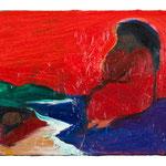 「二匹のメロウ」2011年 油彩 キャンバス 22.3×27.5㎝ 個人蔵 撮影:表恒匡