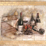 Our most popular mural, this wine and fruit still life mural can be customized to show off your favorite wine labels