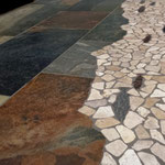 Great for floors: beige pebbles, multicolor slate-looking porcelain tiles, and various fish.