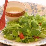 Salad with miso dressing