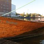 Ein Kirchboot zu Gast am Anklamer Bootshaus