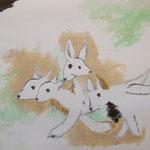 untitled 2018 グリースペンシル 鉛筆 水彩絵具 紙