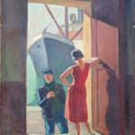 """HT9 """"La visite"""", huile sur toile 50 x 65 cm"""