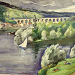 """P14 """"pont du Pecq + voiliers"""""""