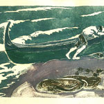 "G13 ""pêcheurs tirant une barque"" lithographie"