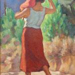 """HP78 """"Femme et enfant marchant de dos"""" huile sur bois 40 x 62 cm"""