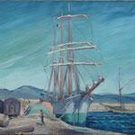 """HT55 """"3 mats dans le port de St Tropez"""", huile sur toile 50 x 65 cm"""