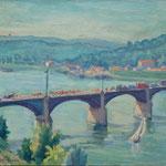 """HP127 """"Le tour de France sur le pont du Pecq"""" huile sur bois 33 x 41 cm"""