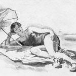 """""""Femme sous un parasol"""" 10 x 15 cm :reproduction numérique: 90€ encadré"""