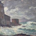"""HP111 """"la tempête"""" huile sur bois, 33 x 41 cm"""