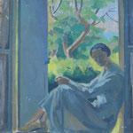 """HP61 """"Femme en bleu à la fenêtre"""", huile sur toile 46 x 55 cm"""