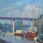 """HP129 """"Bateaux sur la Seine"""" huile sur toile marouflé sur bois, 33 x 41 cm"""
