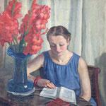 """HT12""""Femme lisant au bouquet"""" huile sur toile 63 x 92 cm"""