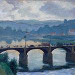 """HP83 """"Le pont du Pecq"""" huile sur toile marouflé 38 x 55 cm"""