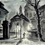 """D6 """"scène de rue la nuit"""" Paris"""