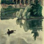 """P13 pont du Pecq et pêcheur"""""""