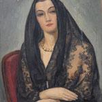 """HP46 """"Femme à la mantille"""", huile sur bois  46 x 55 cm"""
