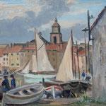"""HP105 """"St Tropez, le port"""", huile sur bois, 33 x 41 cm"""