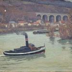 """HT54 """"Bateau vapeur sur la Seine"""" huile sur toile 38 x 45 cm"""