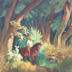 """HP51 """"Cavalière en forêt"""" huile sur bois 38 x 46 cm"""