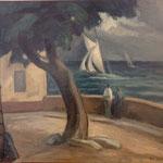 """HT22 """"Place de la Ponche"""" huile sur toile 54 x 65 cm"""